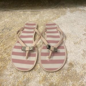 coach striped rubber thong sandals with bow